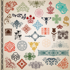 Decorative elements and patterns in the vector