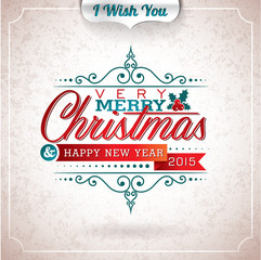 Vector Christmas illustration with typographic design