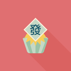 Chinese New Year flat icon with long shadow,eps10 ,Chinese steam