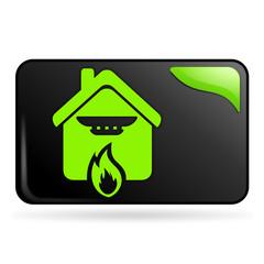 détection incendie sur bouton web rectangle vert