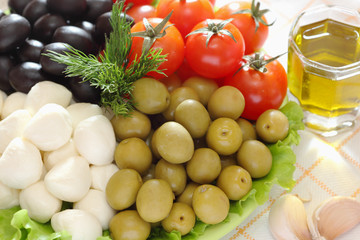 Mozzarella cheese, black and green olives, cherry tomatoes are o