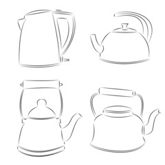 Drawing of the teapot kettle, vector illustration