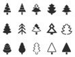 simple pine tree icons set