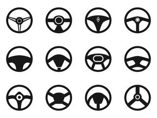 steering wheel icons set