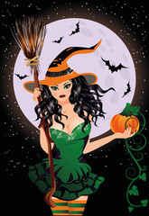 Happy Halloween. Sexy night witch with pumpkin