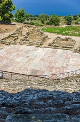 Theater of the archaeological site,Tindarys, Sicily.