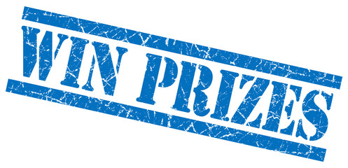 win prizes blue square grunge textured isolated stamp