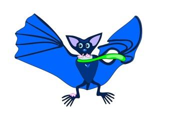 Cute blue bat brushing teeth