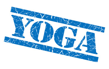 yoga blue square grunge textured isolated stamp