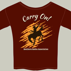 Tee Shirt with Cowboy Riding Horse Rodeo Graphic