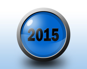 New year 2015 icon. Circular glossy button.