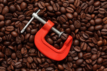 Coffee bean in a clamp