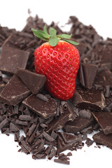 Strawberry and pieces of chocolate