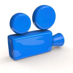 Blue movie camera