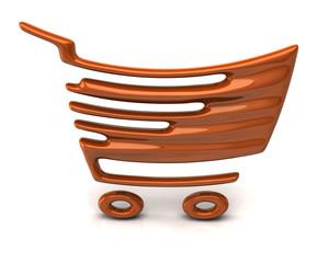 Orange shopping cart icon