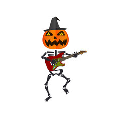 Pumpkin-headed skeleton, playing guitar.