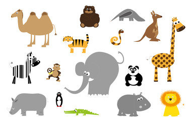 wild animals set on white background- vectors