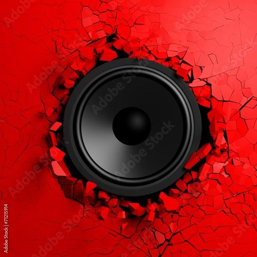 Leinwanddruck Bild Red wall breaks from sound with loudspeaker illustration