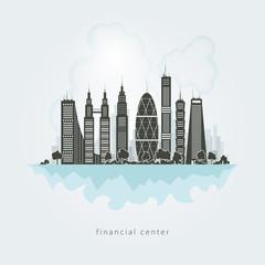 City financial center,vector Illustration