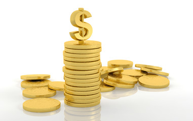 Stack of golden coins with dollar sign isolated on white