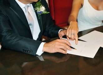 Boda, firma del contrato nupcial