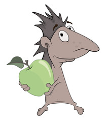 Little hedgehog and green apple cartoon