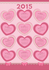 Calendar 2015 Year. Adorable pink background with hearts shaped.