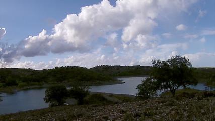 Beliche dam Pan timelapse landscape view. Algarve
