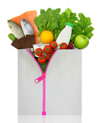 Unzipped shopping bag filled with groceries