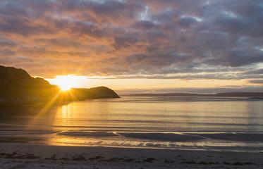 Sand beach and sunset