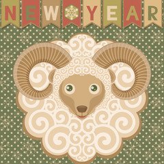 Ram symbol of New year 2015. Retro style.