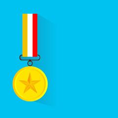Vector illustration of gold medal, flat design