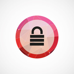 lock circle pink triangle background icon.
