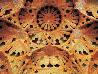 Dense beautiful Islamic architecture detail of mosaics in Iran