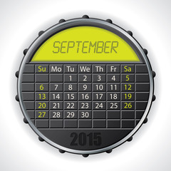 2015 september calendar with lcd display