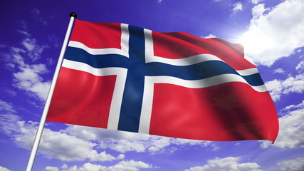flag of Norway with fabric structure against a cloudy sky