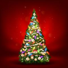 Christmas fir tree on red. EPS 10