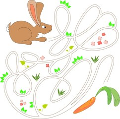 Child's play with brown bunny and a carrot