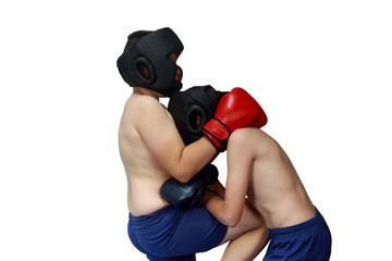 Two athletes train hit in the stomach in gloves