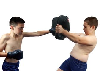 Young boxer makes fierce shot the makiwara