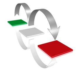 Fortschritt - Symbol in den Farben der italienischen Flagge