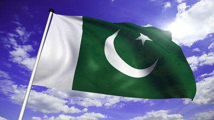 flag of Pakistan with fabric structure against a cloudy sky