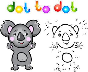 Funny cartoon koala dot to dot