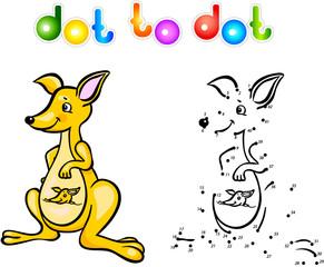 Funny cartoon kangaroo dot to dot