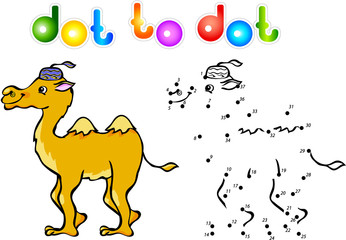 Funny cartoon camel dot to dot