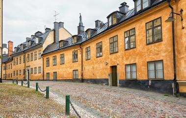 Old cobblestone street, Stockholm Sodermalm area.