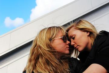 women flirting in the sunshine