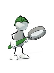 little sketchy man as detective searching with magnifier