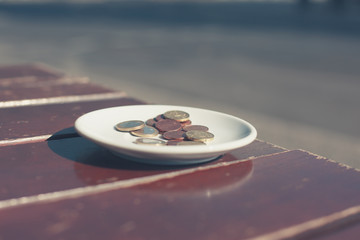 Money on cafe table