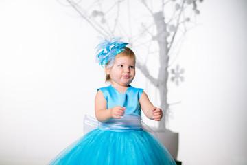 girl in beautiful blue dress